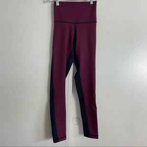 DYI black/ Burgundy Highwaist leggings Size XS